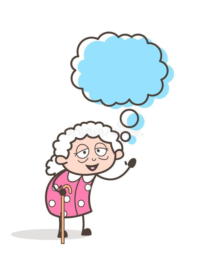 Grand-maman de bande dessinée avec l'illustration de vecteur de bulle de pensée illustration de vecteur
