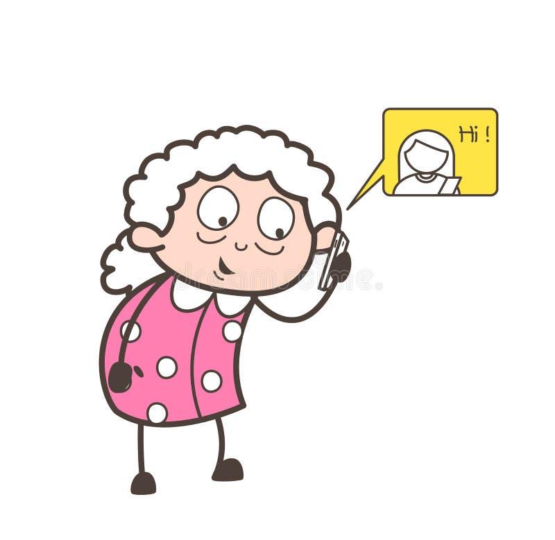 Grand-maman de bande dessinée causant sur le concept mobile de vecteur illustration stock