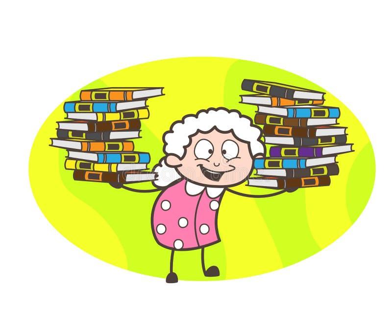 Grand-maman de bande dessinée présent le troupeau de l'illustration de vecteur de livres illustration libre de droits