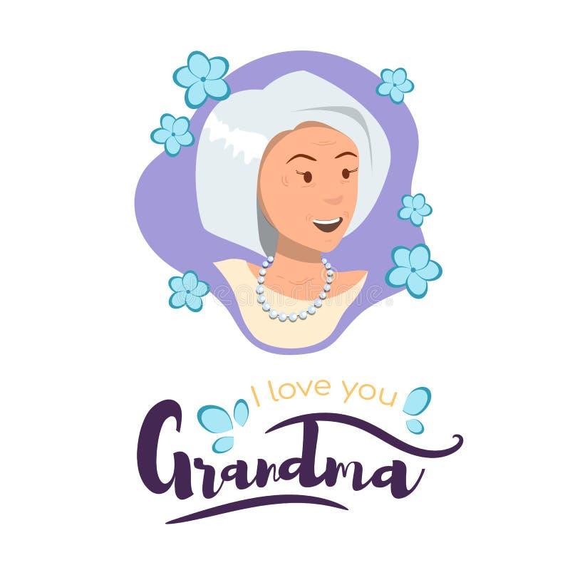 Grand-maman de bannière d'illustration de vecteur je t'aime illustration de vecteur