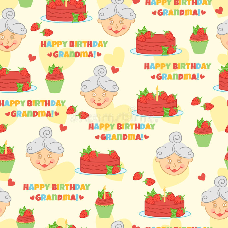Grand-maman de joyeux anniversaire illustration stock