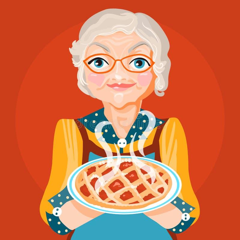 grand maman de grand m re en robe orange et verres avec le tarte cuit au four cuit et frais. Black Bedroom Furniture Sets. Home Design Ideas
