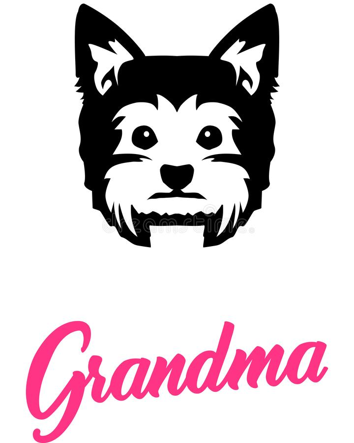 Grand-maman de Yorkie avec la silhouette illustration libre de droits