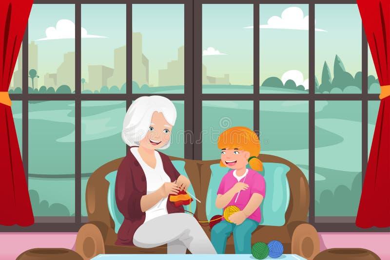 Grand-maman enseignant son tricotage de petite-fille illustration de vecteur