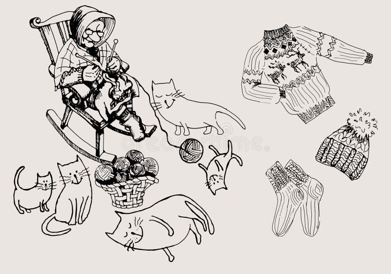Grand-maman et chats illustration stock