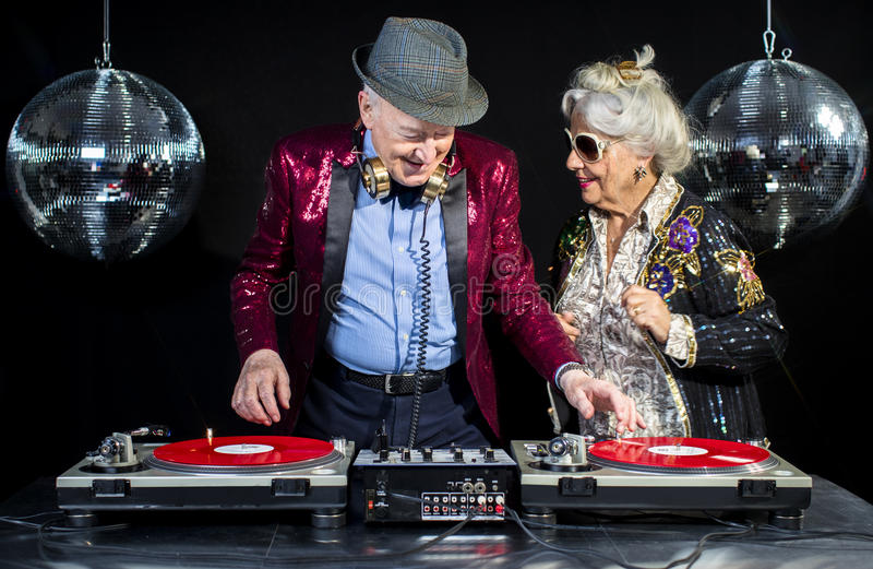Grand-maman et grand-papa du DJ photos libres de droits