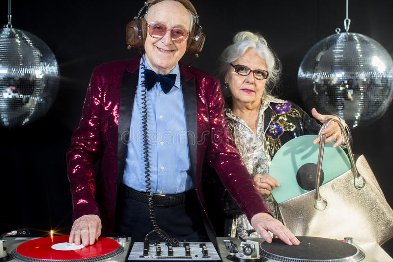 Grand-maman et grand-papa du DJ images libres de droits