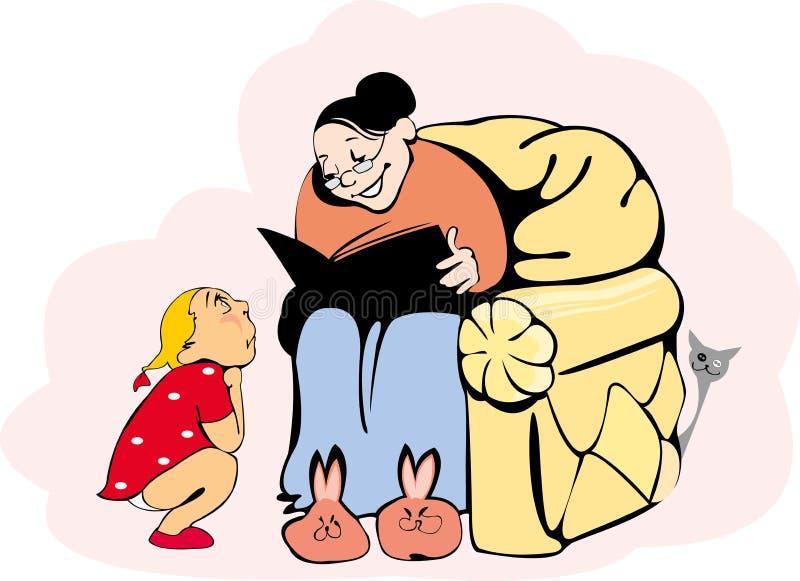 Grand-maman et petite-fille illustration libre de droits