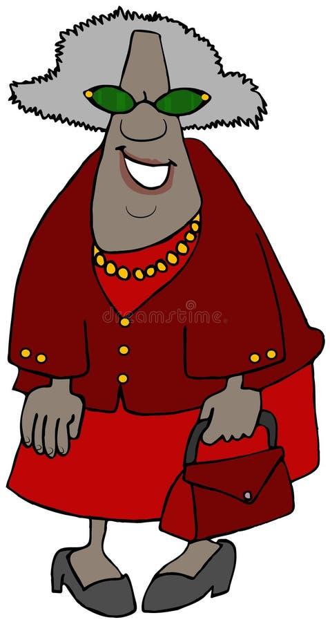 Grand-maman ethnique tout habillée en rouge illustration stock