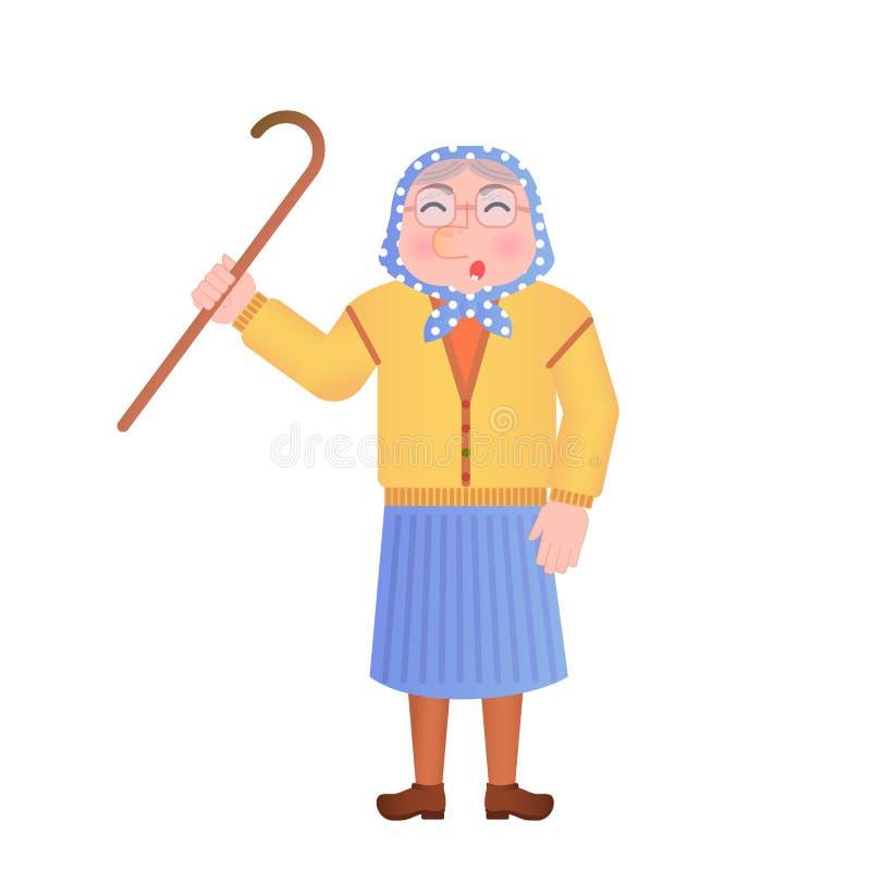 Grand-maman fâchée illustration de vecteur