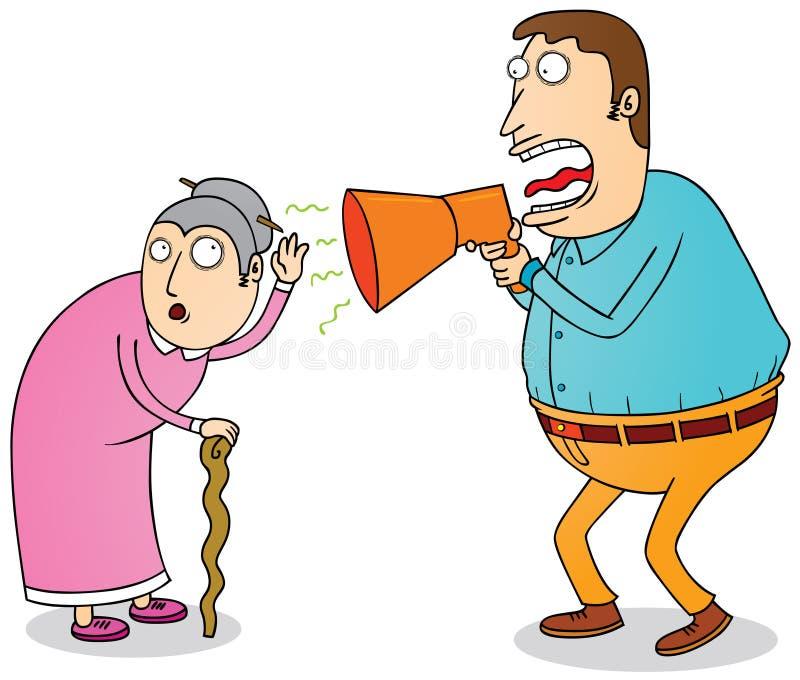 Grand-maman sourde image libre de droits