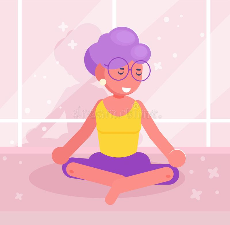 grand-maman Vecteur de yoga cartoon Art d'isolement plat illustration stock