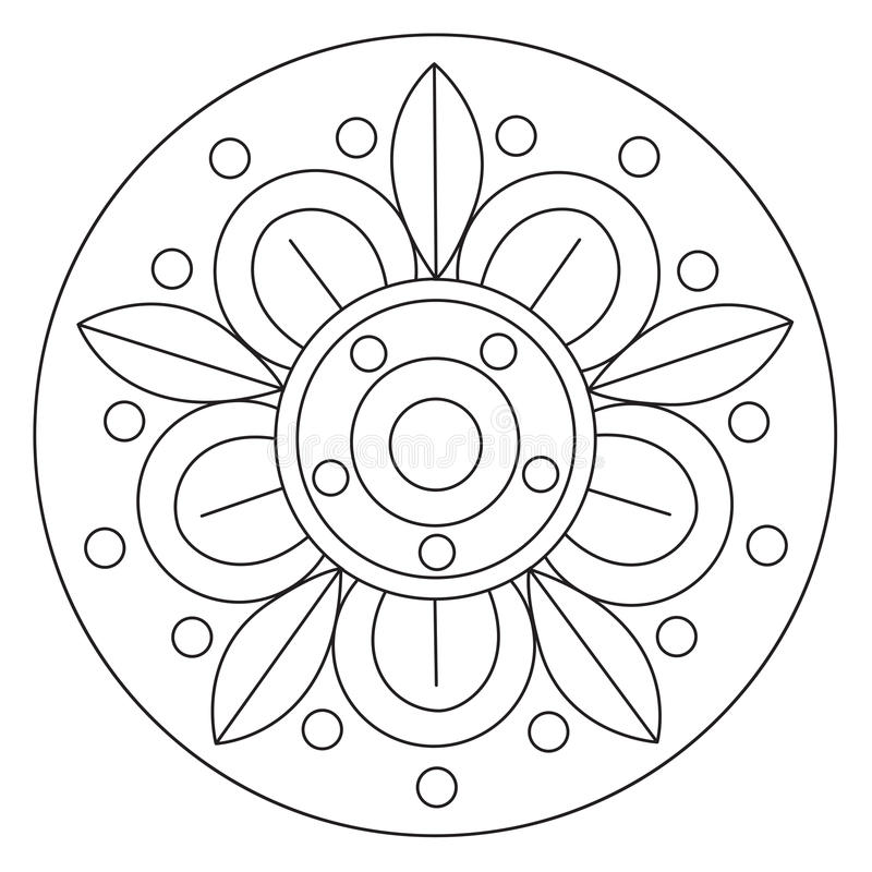 Grand mandala de coloration de fleur illustration de vecteur