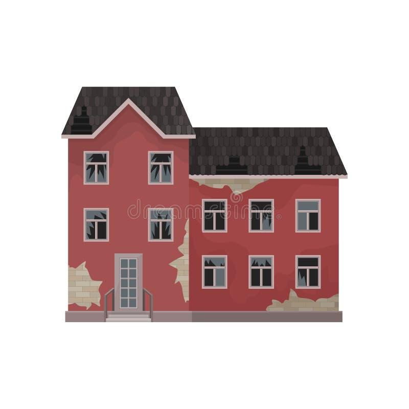 Grand manoir abandonné Vieille maison avec éplucher la peinture, le toit cassé et les fenêtres Élément plat de vecteur pour le je illustration libre de droits