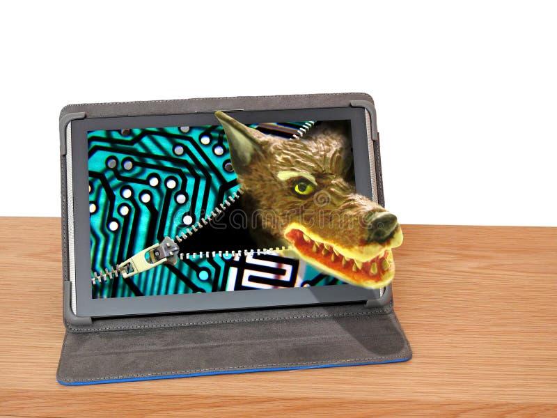 Grand mauvais danger d'Internet de malware d'attaque d'ordinateur de cyber de loup images libres de droits