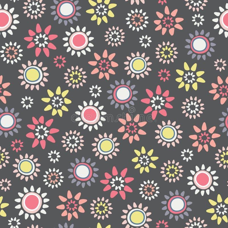 Grand modèle sans couture floral écervelé de répétition de vecteur illustration libre de droits