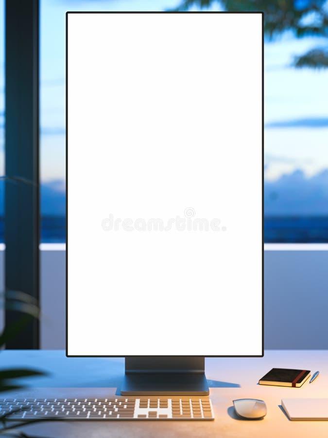 Grand moniteur blanc de blanc avec l'espace de copie sur le bureau sur la véranda avec la vue sur le beau jardin, rendu 3d illustration de vecteur