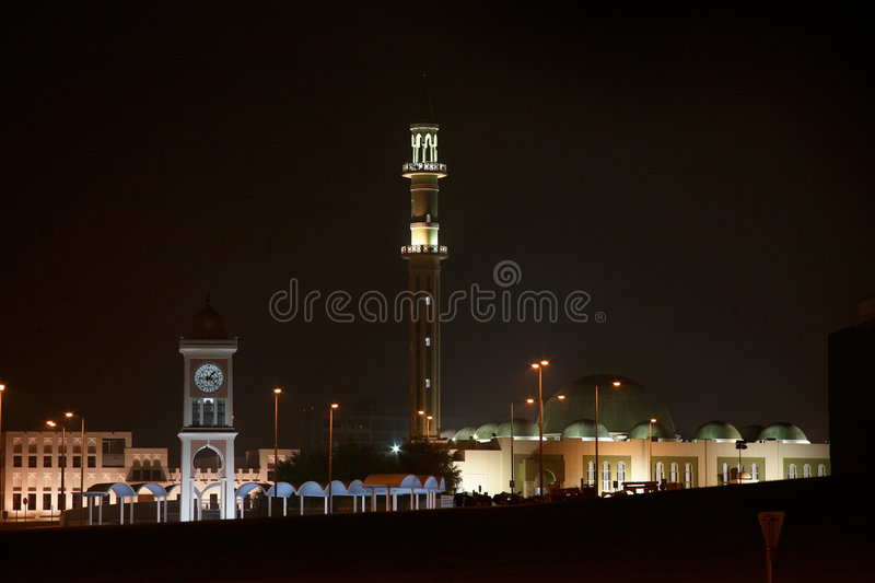 Grand Mosque at night stock images