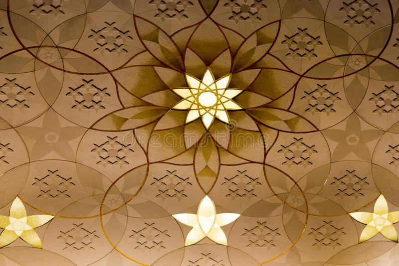 Grand Mosque Abu Dhabi wall decoration. Wall decoration Grand Mosque Abu Dhabi stock photo