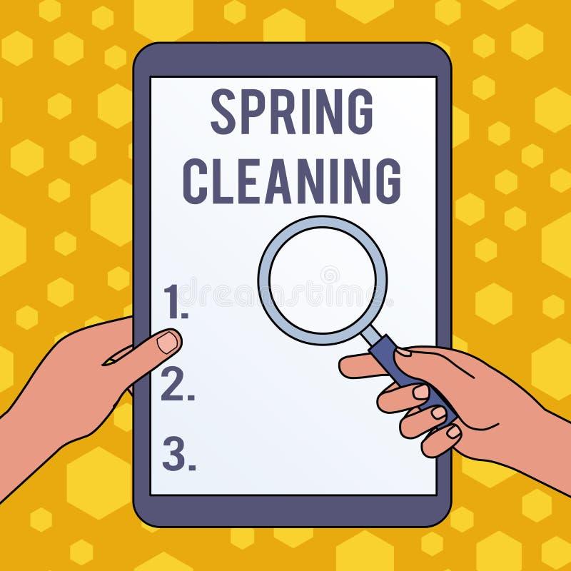 Grand nettoyage d'?criture des textes d'?criture Concept signifiant la pratique de la maison complètement de nettoyage dans les m illustration libre de droits