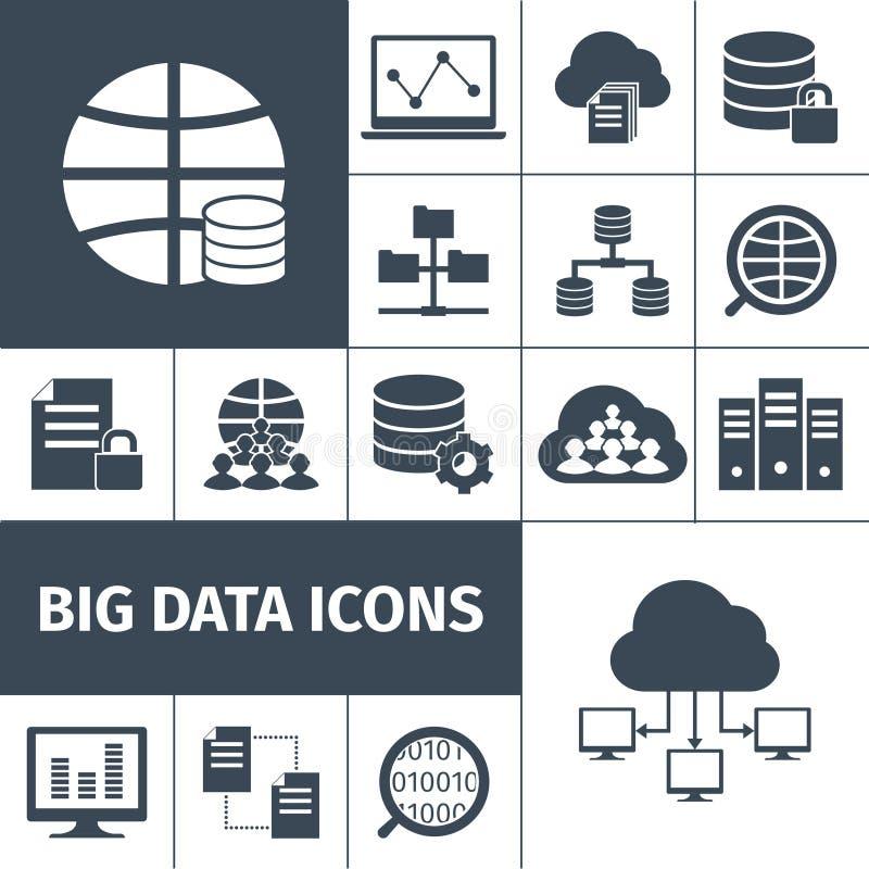 Grand noir d'icônes de données illustration de vecteur