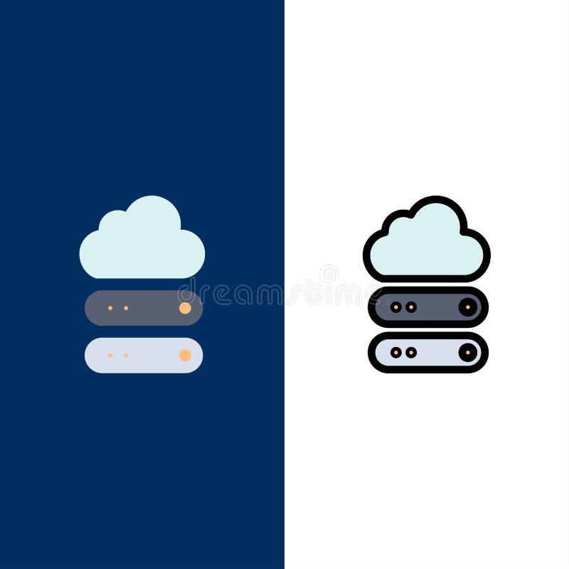 Grand, nuage, données, icônes de stockage L'appartement et la ligne icône remplie ont placé le fond bleu de vecteur illustration de vecteur