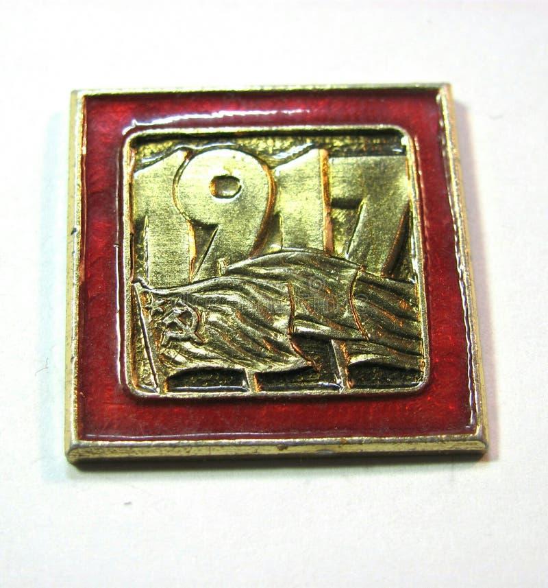 Grand octobre insigne de révolution de 1917 images stock