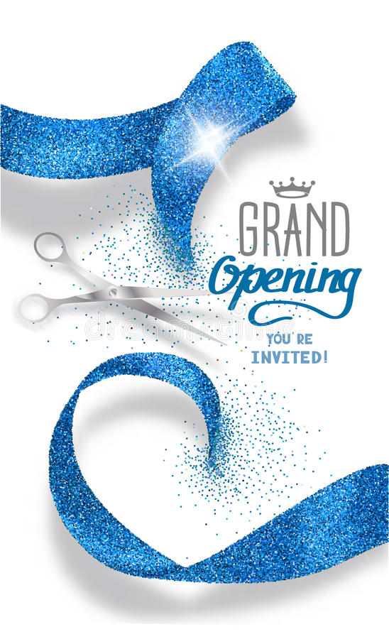 Grand opening banner with abstract blue abstract ribbon and scissors vector illustration