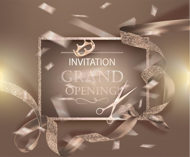 Grand opening banner with beige curly sparkling ribbons. royalty free illustration