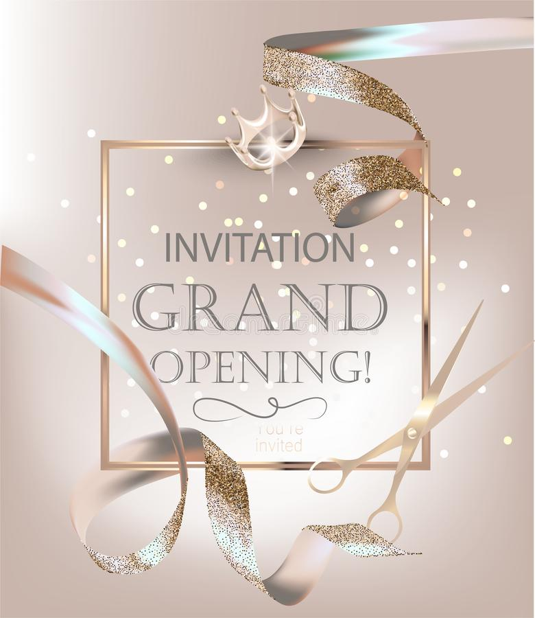 Grand opening banner with beige and white curly silk ribbons. vector illustration