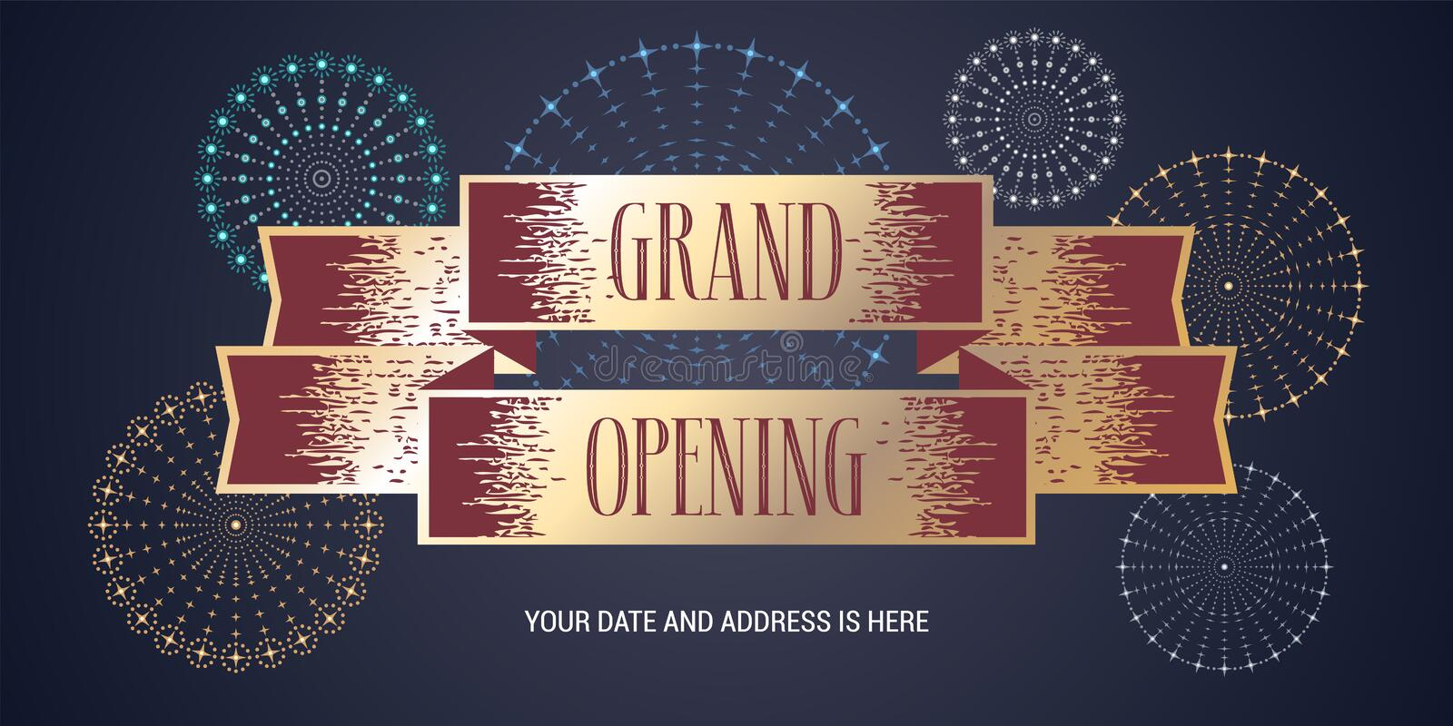 Grand opening banner. Template festive design element with fireworks for opening ceremony can be used as background or poster stock illustration