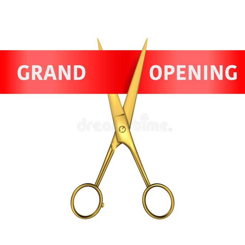 Grand Opening Banner. Vector 3d Realistic Golden Metal Scissors utting a Red Ribbon Isolated on White Background. Clip royalty free illustration