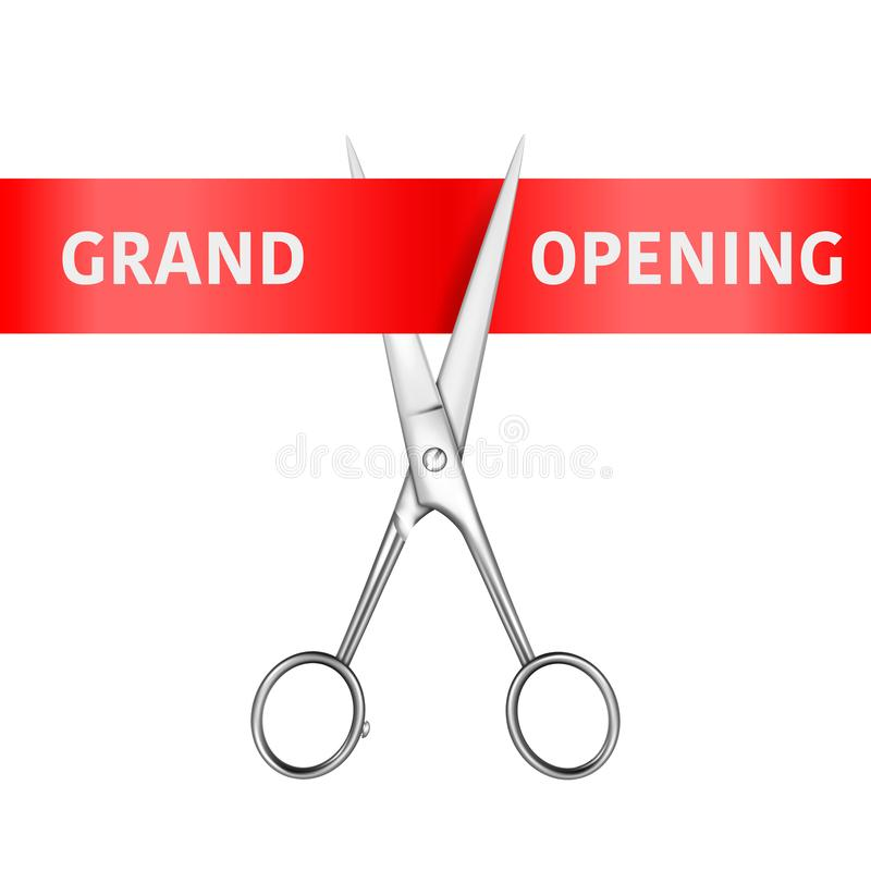 Grand Opening Banner. Vector 3d Realistic Silver Metal Scissors utting a Red Ribbon Isolated on White Background. Clip vector illustration