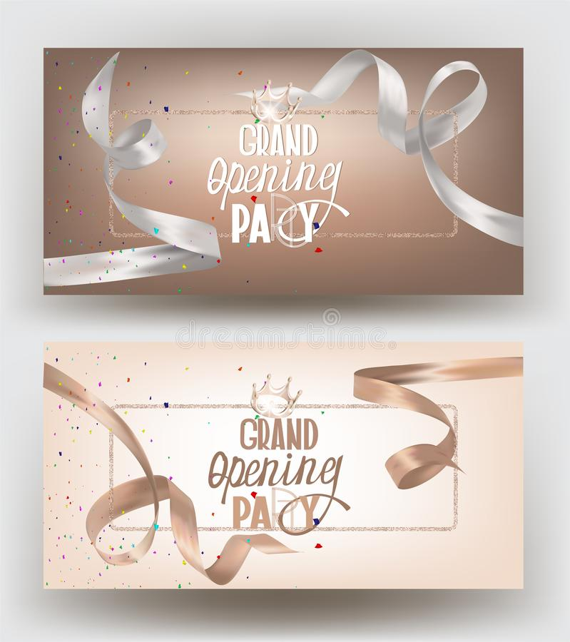Grand opening banners with beige and white curly silk ribbons. Vector illustration vector illustration