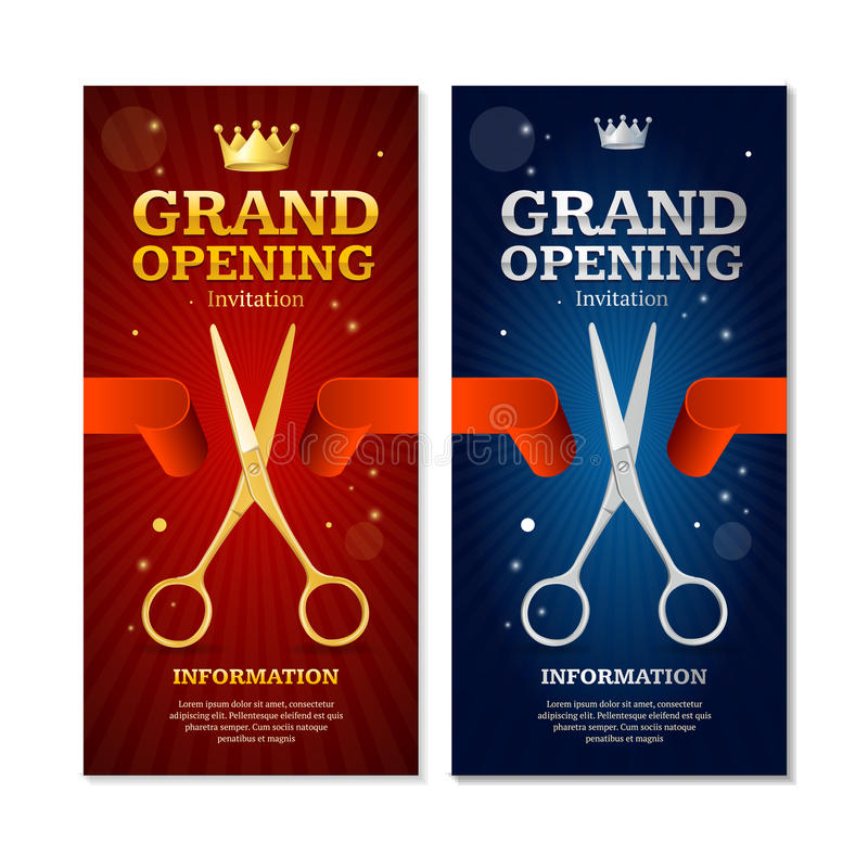 Grand Opening Banners Invitation Set. Vector vector illustration