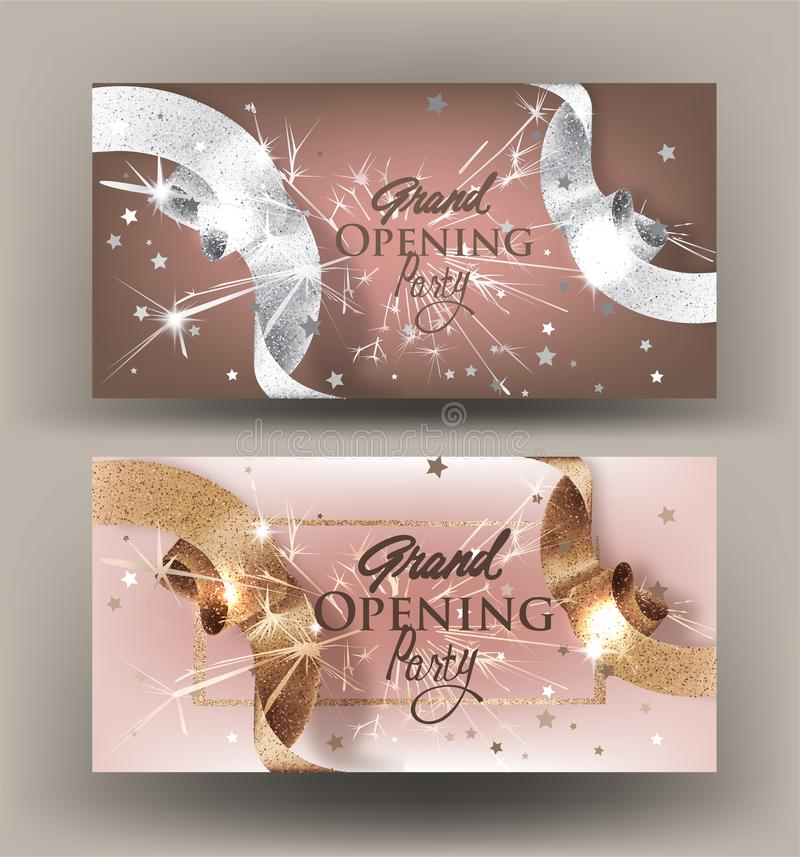 Grand opening banners with sparkling beautiful beige ribbons. royalty free illustration