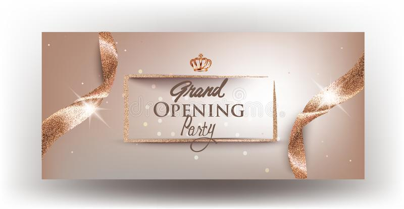 Grand Opening beige banner with curly textured ribbons and golden frame. vector illustration