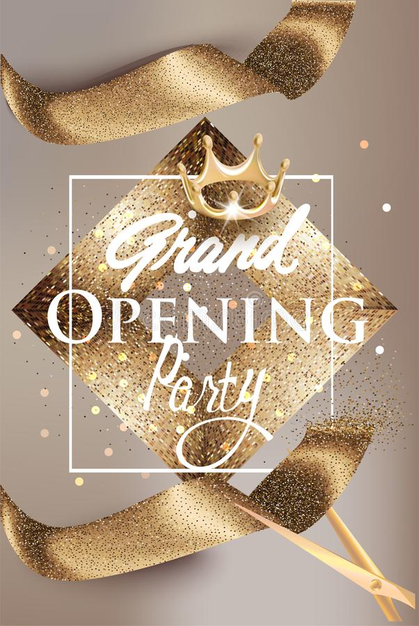 Grand opening beige banner with gold sparkling ribbon and vintage frame. royalty free illustration