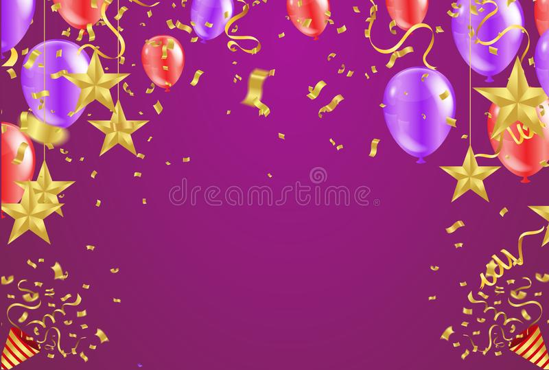 Grand opening card with air red balloons and star gold royalty free illustration