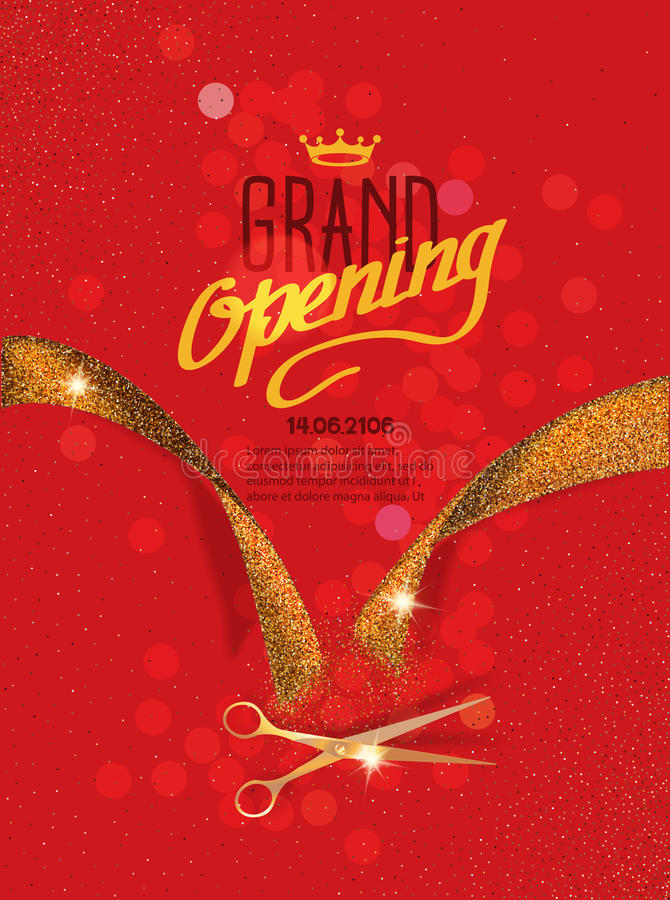 Grand Opening card with gold abstract ribbon and gold scissors on the red background stock illustration