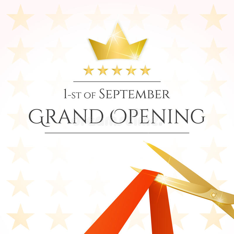 Grand opening card. With scissors and red ribbon. Vector stock illustration