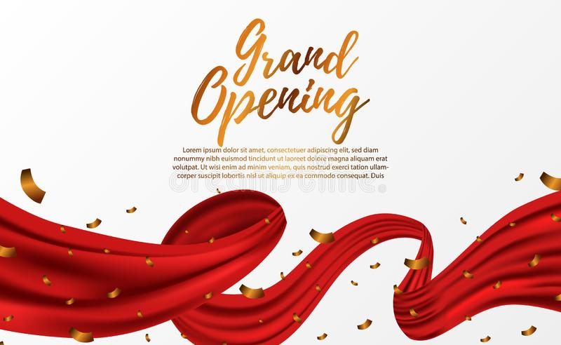 Grand Opening ceremony party template with golden confetti and red silk luxury ribbon swirl. Grand Opening ceremony party banner poster template with golden vector illustration