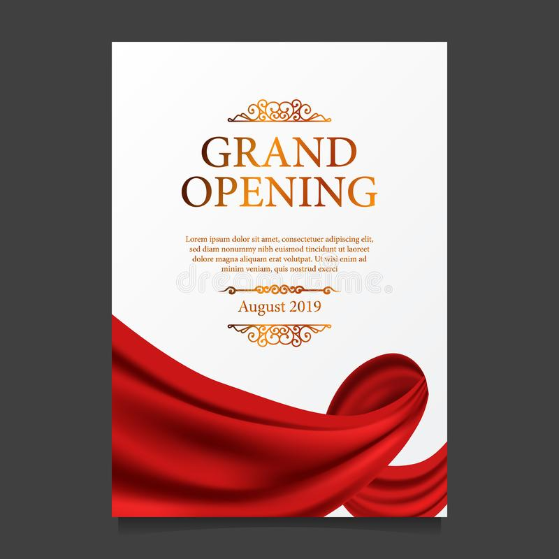 Grand Opening ceremony red silk ribbon poster banner. Grand Opening ceremony elegant luxury red silk ribbon poster banner royalty free illustration