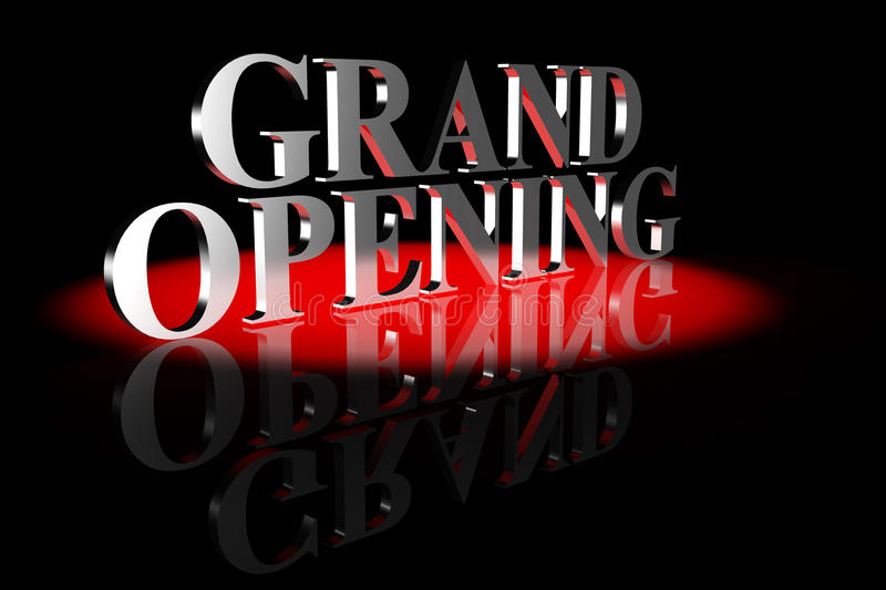Grand Opening 3D Text vector illustration