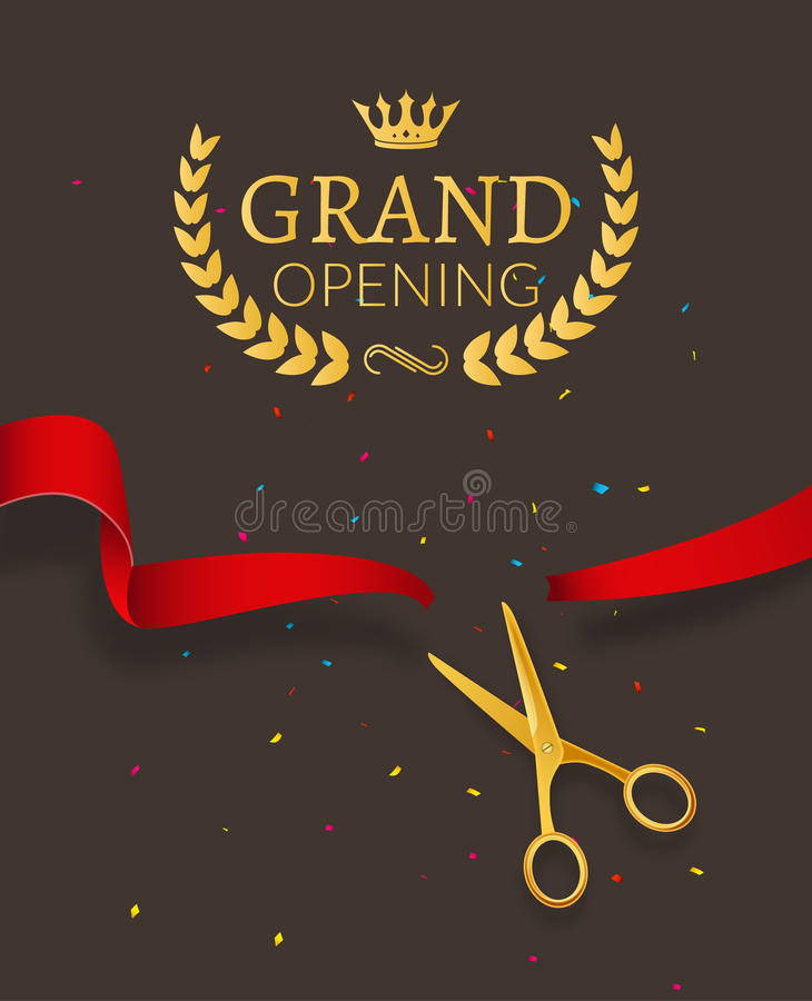Grand Opening design template with ribbon and scissors. Grand open ribbon cut concept. royalty free illustration