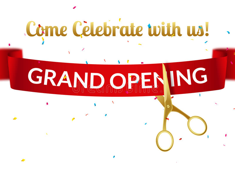 grand opening design template with ribbon and scissors grand open ribbon cut invitation stock. Black Bedroom Furniture Sets. Home Design Ideas