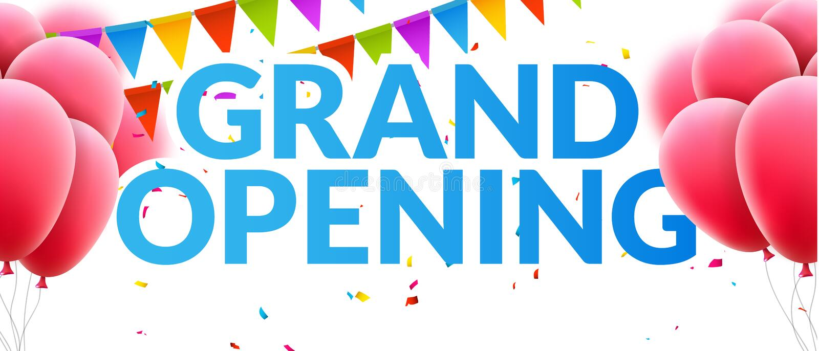 Grand Opening event invitation banner with balloons and confetti. Grand Opening poster template design stock illustration
