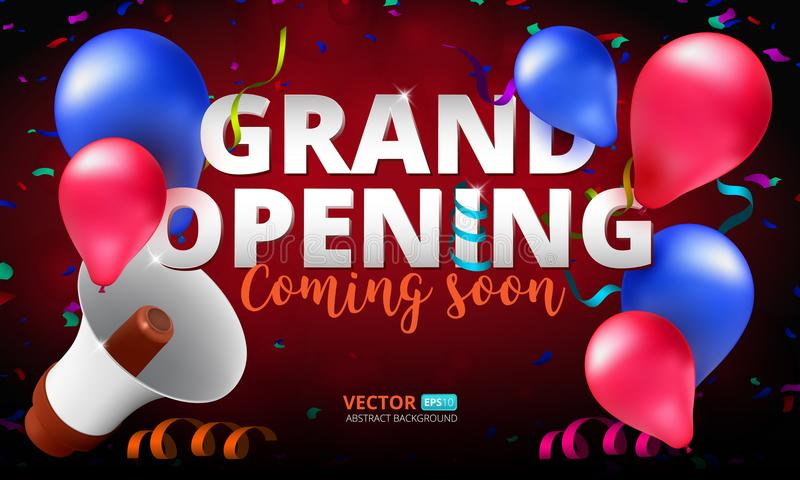 Grand Opening event invitation banner or poster design template royalty free stock photos