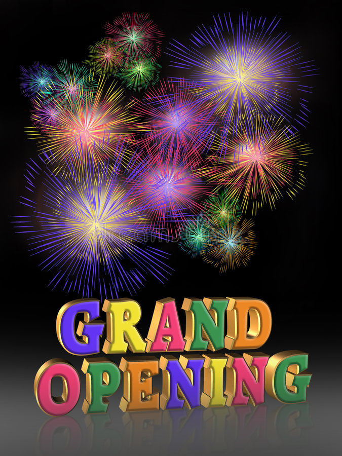 Grand Opening Fireworks. Illustration composition for Grand Opening Celebration template, poster or announcement with 3D text stock illustration