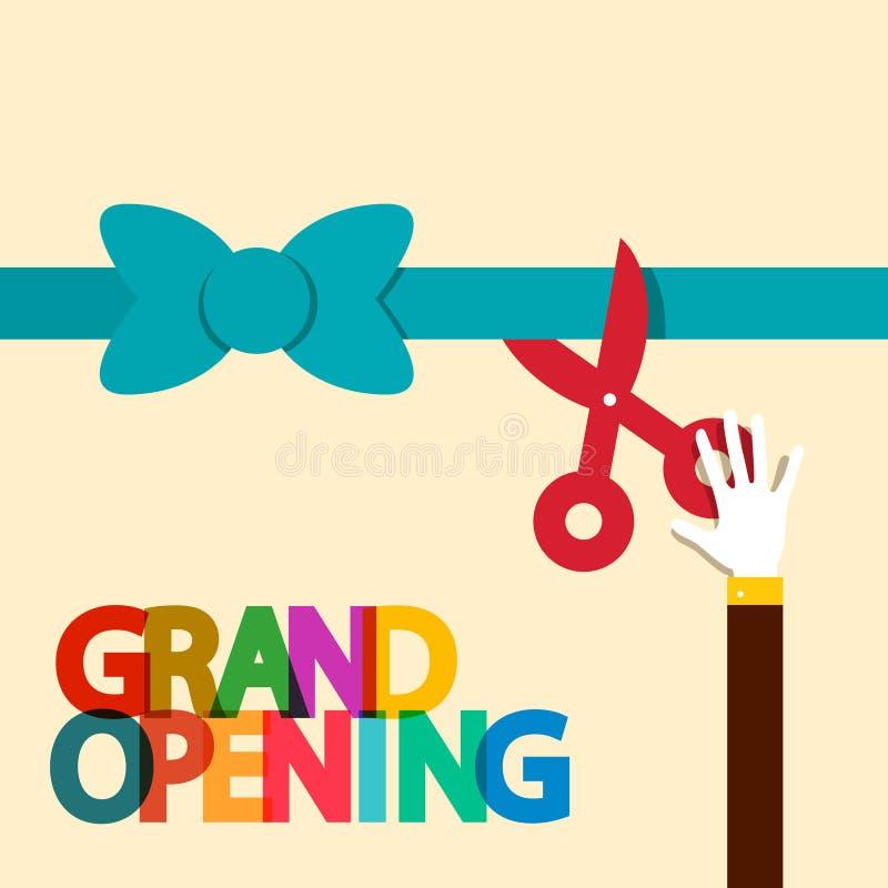 Grand Opening Flat Design Retro Vector. Illustration royalty free illustration